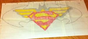 Wonder Woman, Superman, Batman logos property of DC Comics. Rag rug grid by Andrea Guerra