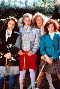 The Heathers playing croquet.