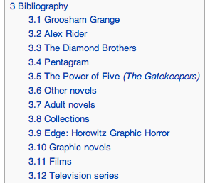 Anthony Horowitz bibliography