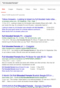 Google search results: full-blooded female, April 2014