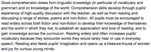 Key stage two english literature curriculum requirements, Britain, 2013
