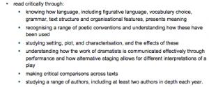 Key stage three english literature curriculum requirements, Britain, 2013