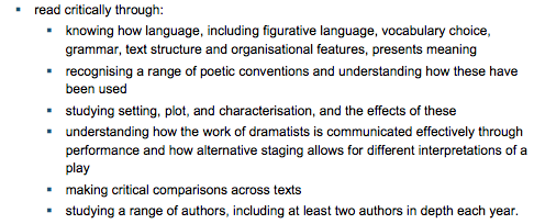 Key stage three english literature curriculum requirements, Britain, 2013