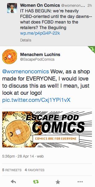 Escape Pod Comics twitter conversation screencap