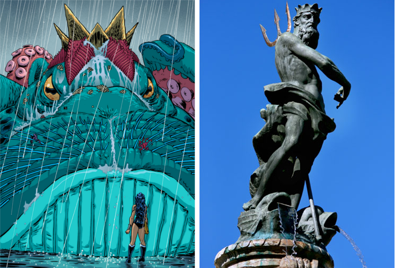 Poseidon in Wonder Woman and in classical representation