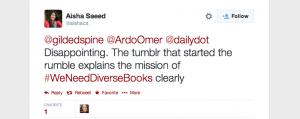 Screen Shot of tweet, April 2014