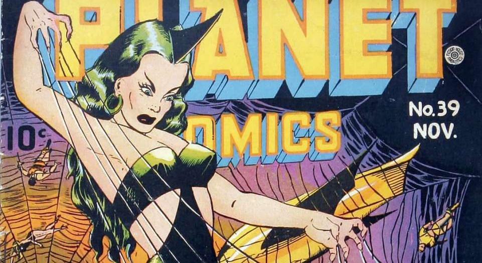 Feature Image, Planet Comics, Public Domain, Spider web woman