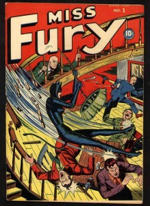 Miss Fury, Bell Syndicate: Tarpé Mills (artist/creator), cover by Alex Schomburg