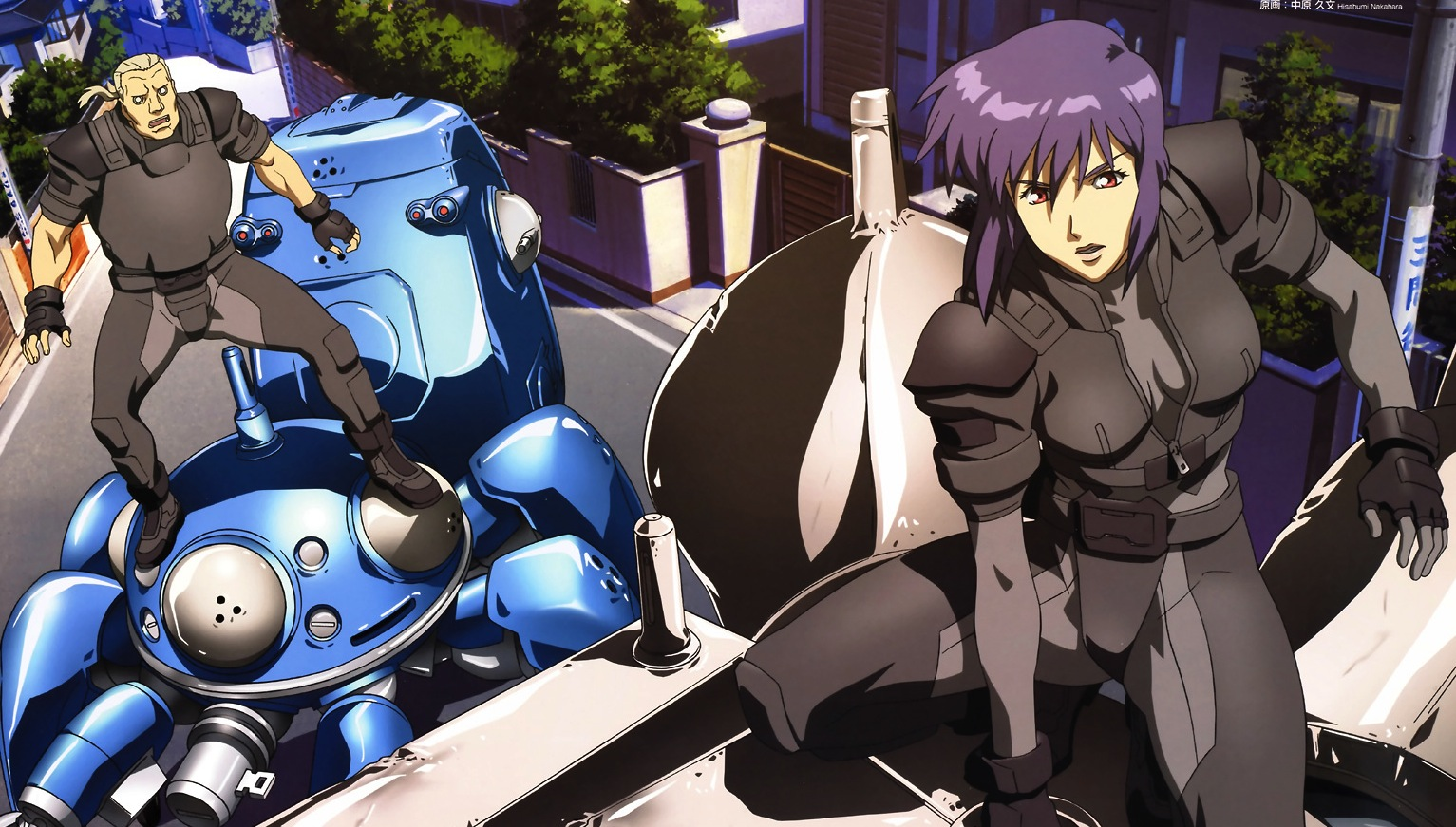 Batou and The Major on the Kago tank, Ghost in the Shell: Stand ALone Complex, ep. 2, Production IG, 2002