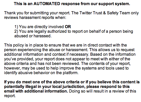 twitter's harassment policy, 2014