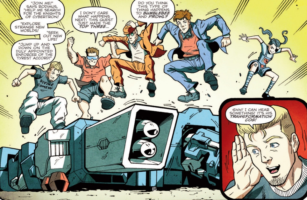 From left to right; The holomatter avatars of Rewind, Swerve, Rung, Skids, and Whirl in More than Meets the Eye #13. Pencils by Guido Guidi Inks: John Wycough, Juan Castro, Guido Guidi and Marc Deering, Colorists:Josh Burcham and Joana Lafuente.