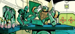 Chromedome and Rewind in MTMTE #12. pencils by Brendan Cahill,  inks by Brian Shearer, colors by Josh Burcham.