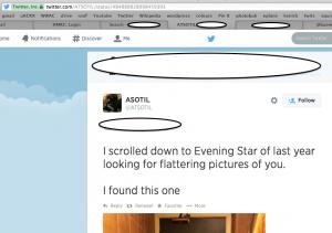 Screen Shot of Tweets regarding Skyler Page, Jul 2014