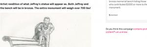 Jeffrey Baldwin Memorial Indiegogo, statue sketch, R Abernathy