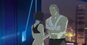 The Major, Batou, and her watch, Motoko Kusanagi, Ghost in the Shell: Stand Alone Complex, episode 25, Production IG, 2002