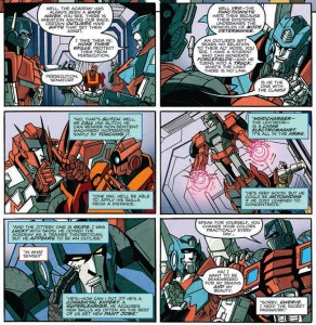 The introduction of the Outliers in MTMTE #11. Writing by James Roberts, pencils by Alex Milne, inks by Juan Castro, Alex Milne and John Wycough, coloring by Josh Burcham, letters by Shawn Lee