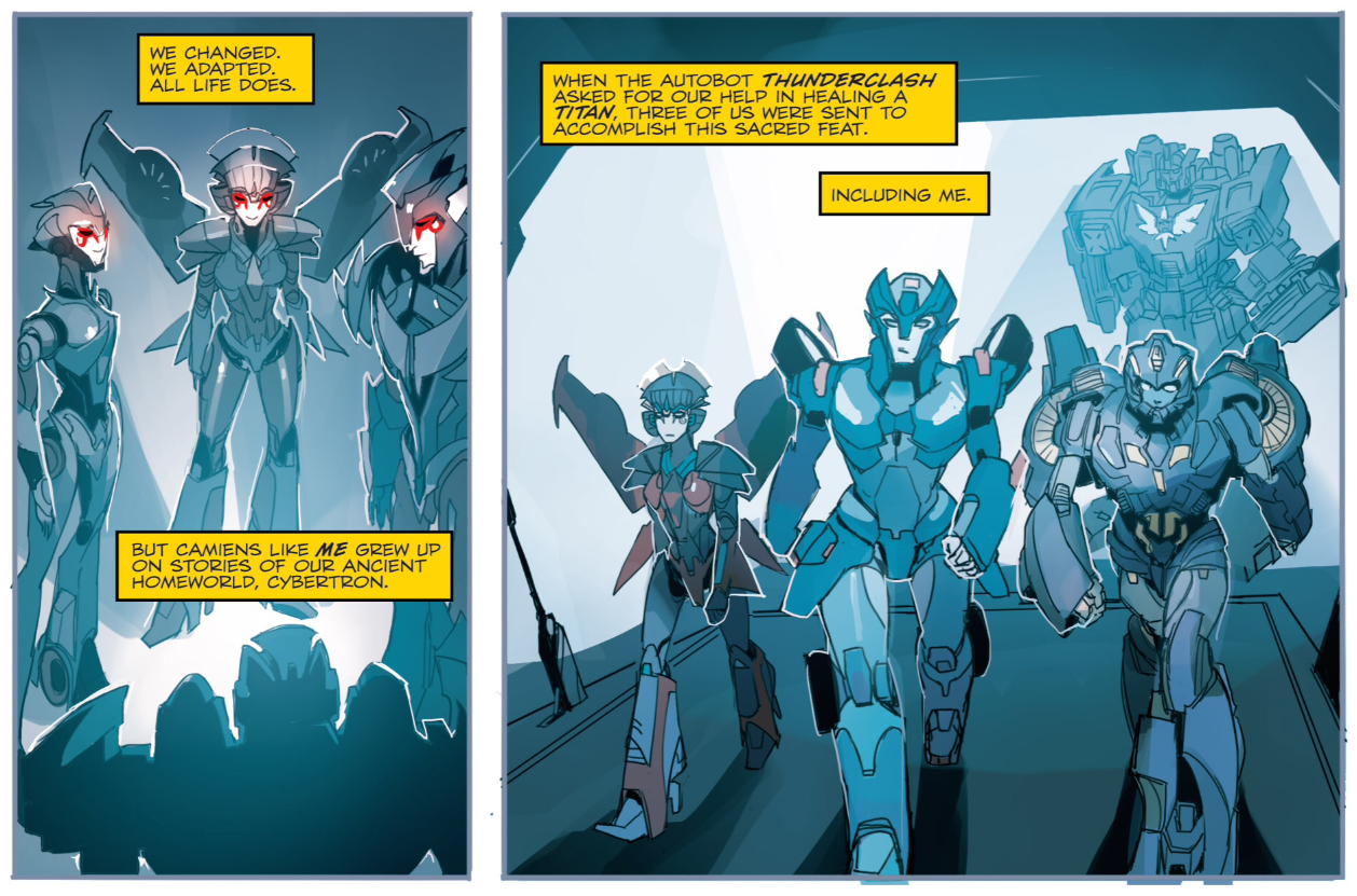 The origin of the female Transformers in IDW. Writing by Mairghread Scott, Art by Sarah Stone, Lettering by Chris Mowry.