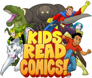kids read comics logo, http://comicsaregreat.com/comics-are-great-05-kids-read-comics-panel