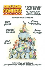 kids read comics poster 2013, kids read comics, t-rex, https://twitter.com/krcomics