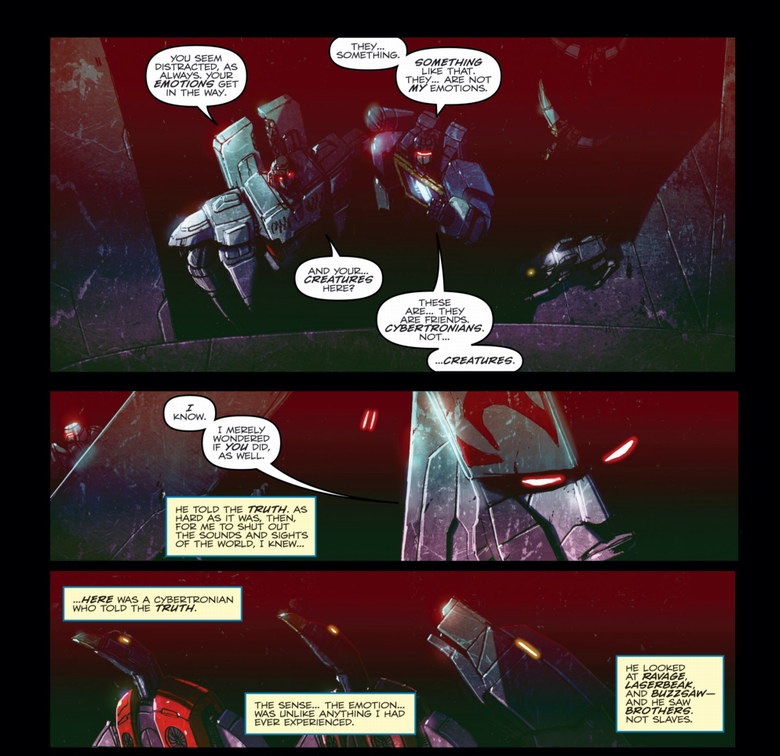 Megatron and Soundwave discussing the latter's friends in Robots in Disguise #22. Writing by John Barber, art by Livio Ramondelli, lettering by Shawn Lee.