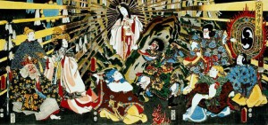 Amataresu classical panel depicting her leaving the cave, Utagawa Kunisada, http://www.deepkyoto.com/?p=7267