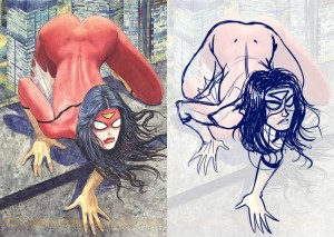 Karine Charlebois. Less Tits N' Ass, More Kickin' Ass. August 20, 2014. Tumblr. Spider-Woman. Milo Manara. Variant Cover. Marvel.