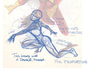 Karine Charlebois. Less Tits N' Ass, More Kickin' Ass. August 20, 2014. Tumblr. Spider-Woman. Milo Manara. Variant Cover. Marvel.