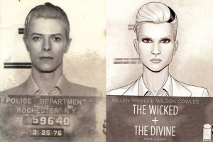 David Bowie mugshot; The Wicked and The Divine, issue #1 alternate cover, Jamie McKelvie, Image, 2014