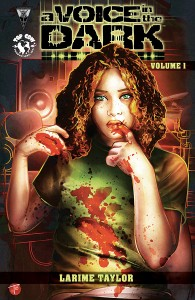 Cover for A Voice in the Dark featuring the main character in a bloodstained shirt touching her mouth with a bloody finger