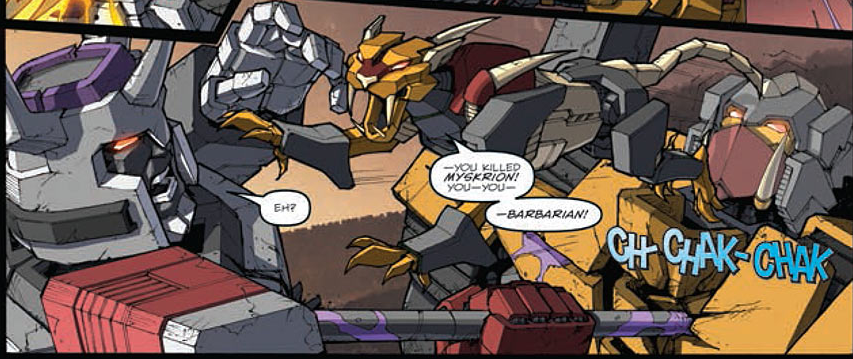A pre-Golden Age Headmaster fights Galvatron the barbarian in Robots in Disguise #30. Script by John Barber, lineart by Casey Coller, colors by Joana Lafuente, letters by Tom B. Long.