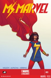 Ms Marvel. Marvel Comics. Marvel. Written by G. Willow Wilson. Drawn by Adrian Alphona. Cover by Jamie McKelvie. April 16 2014.