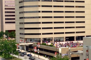 An Otakon line, as visible from our hotel room.