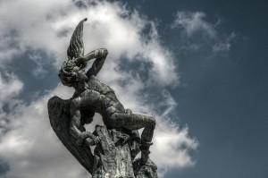 """""""The Fallen Angel"""" statue, Spain, 'Lucifer' by Felipe Gabaldon"""