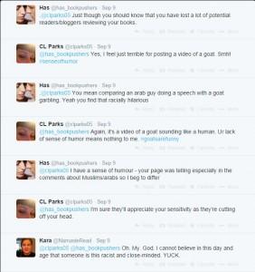 Screenshot. Twitter. C.L. Parks. Christy Parks. September 9, 2014.