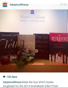 HarperCollins Canada. September 16 2014. Instagram.