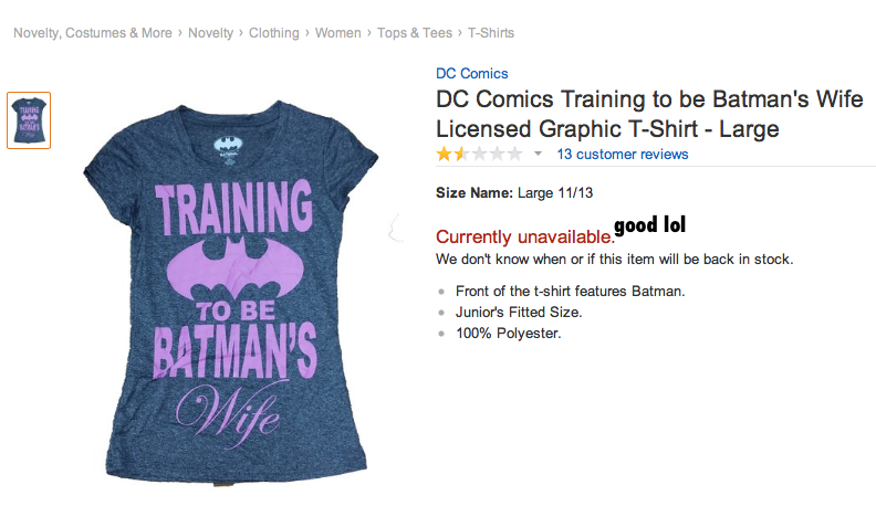 Batman's Wife DC Target merchandise, 2014, DC Comics, Warner Bros, Traget, licensed apparel