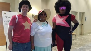from Friday True Blue Spark (L) as Steven Jamie Kingston (C) as Connie  Jazmine (R) as Garnet.