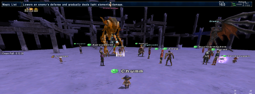 Fighting Proto-Omega in Final Fantasy XI