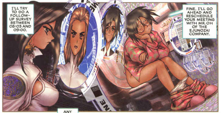 fuck her on the toilet?, Ghost in the Shell 2: man-machine interface manga comic, Young Magazine, Dark Horse Comics, 1991 -- 2003