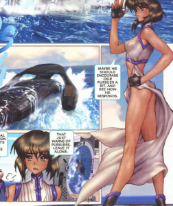 lips or no lips? tiny ass, Ghost in the Shell 2: man-machine interface manga comic, Young Magazine, Dark Horse Comics, 1991 -- 2003