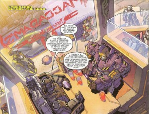 Megatron and Impactor. Scene from The Transformers #22. Written by James Roberts, drawn by Alex Milne, colored by Joana Lafuente, lettered by Shawn Lee
