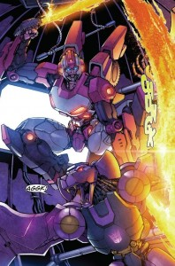 Arcee taking care of Ratbat. Scene from Robots in Disguise #2. Written by John Barber, drawn by Andrew Griffith, colored by Josh Perez, lettered by Shawn Lee.
