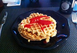 Homemade Buttermilk Waffles w/Honey Creme Syrup and Strawberries
