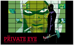 the private eye, cover of issue 5, panel syndicate, artist marcos martin, writer brian k. vaughn, colorist Muntsa Vicente