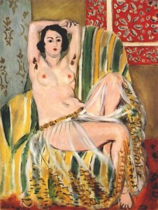 Matisse, Seated Odalisque Arms Raised (Green Striped Armchair)