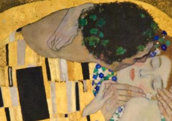 Gustav Klimt, The Kiss, detail