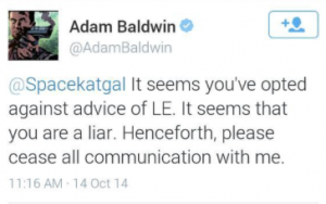 Screen Shot , Adam Baldwin to Brianna Wu, twitter