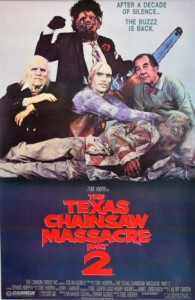 TexasChainsawMassacre 2 poster dir. Tobe Hooper, 1986
