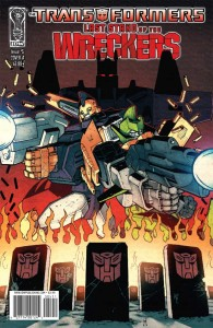 Last Stand of the Wreckers #5 cover, Co-written by Nick Roche and James Roberts, penciled by Roche and Guido Guidi, inked by Andrew Griffith and colored by Josh Burcham, IDW