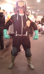 "Kelly K, ""Budget Dredd"" cosplay at Thought Bubble"